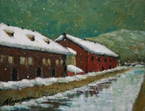 風花の舞う小樽運河 、Oil on canvas 40.9×31.8